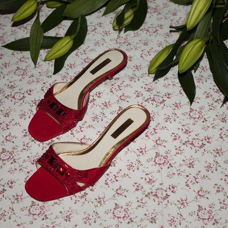 Vintage Kintsugi Beaded Kitten Heels - Red
