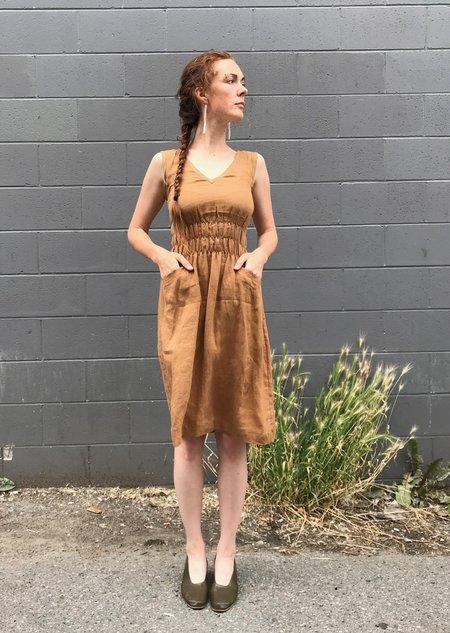 modaspia Fiji Linen Dress - Curry