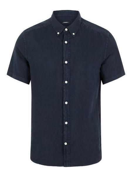 J Lindeberg Fredrik BD Clean Linen SS Shirt - Navy