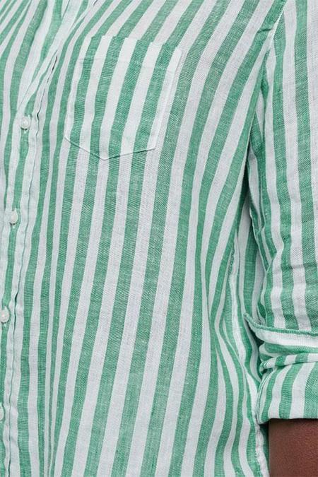 Frank & Eileen Button Down - Wide Green/White Stripe