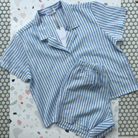 Salua Atelier Lingerie Salua Cropped Button Down PJ Top + High Waisted Shorties Set - Baby Blue Stripe