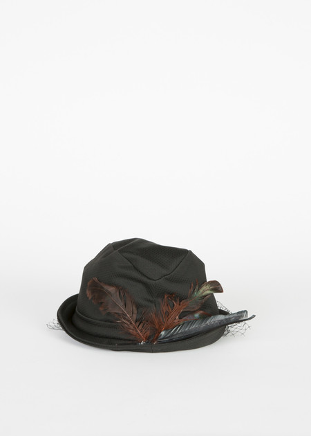 Rundholz Feather and Veil Hat