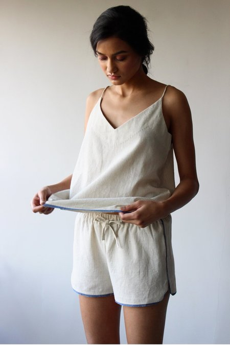 The Summer House Rumi Camisole - White/Blue