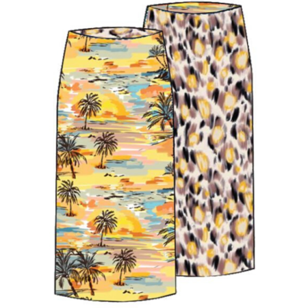 Le Superbe Two-timer Pencil Skirt - Sandy Beach/Banana Leopard