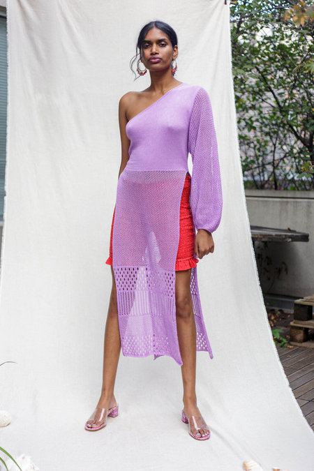 Abacaxi Long Knit Tunic - Lilac