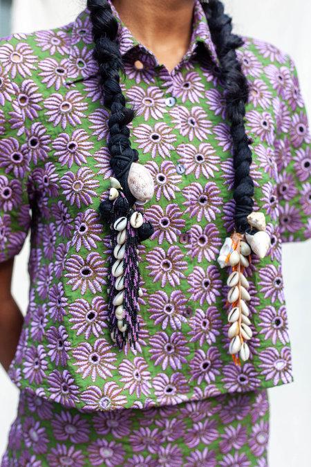 Abacaxi Crop Shirt - Banana Eyelet