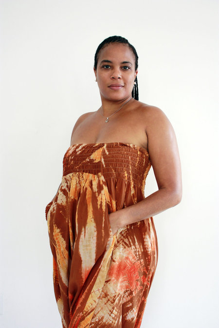 Abacaxi Silk Romper - Tiger's Eye