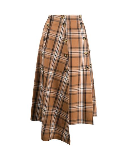A.W.A.K.E. Mode Asymmetric Midi Skirt - Check