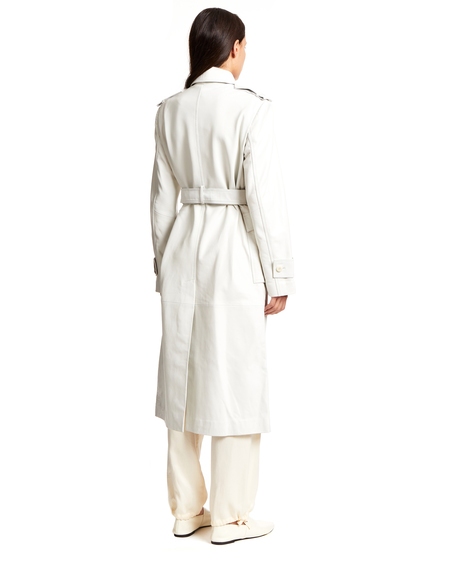 Remain Eco Leather Trench Coat - White
