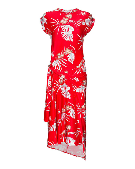 Paco Rabanne Hawaiian Print Midi Dress - Red