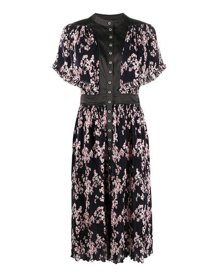 Paco Rabanne Floral Print Pleated Midi Dress - Black
