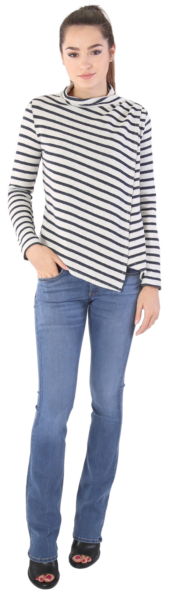Shay & Coco Asymmetrical Zip Cardigan in White & Navy Stripe