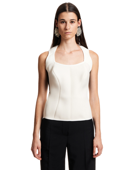 Marine Serre Sleeveless Top - White