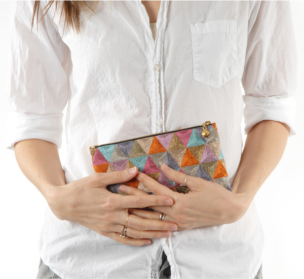 Anne Grand-Clément Multicolor Metallic Rosebud Pouch