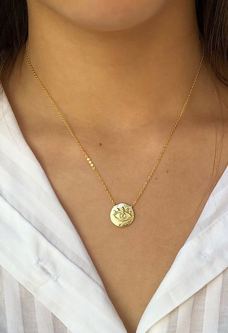 SS JEWELRY Small Evil Eye Coin Necklace
