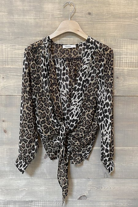 Rokoko Cheetah Tie Top - Brown