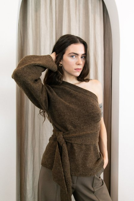 Nanushka Cleto One-shoulder Belted Knit Sweater - Brown