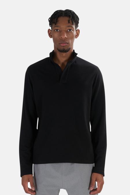 Blue&Cream x Wheelers.V Placket Mock Neck Top Sweater - Black
