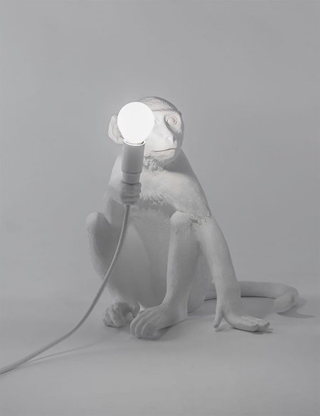 Seletti Monkey Lamp Sitting - White