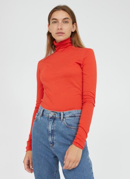 Armedangels Malenaa rollkeck long sleeve - glossy orange