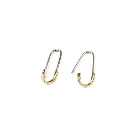 Passerine 2-TONE SAFETY PIN EARRING - SILVER & BRONZE