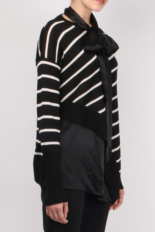 (nude) Striped Flared Sweater
