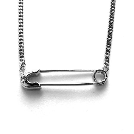 Godfrey and Rose Small Safety Pin Necklace - Rhodium/White Sapphire