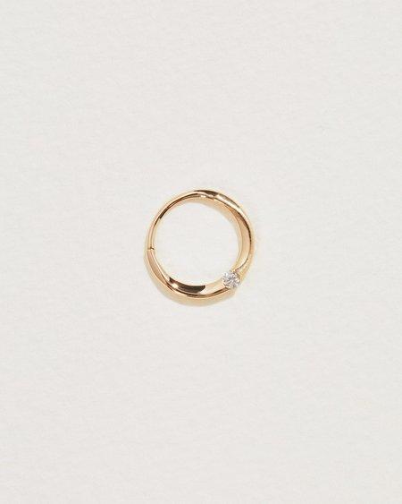 Pamela Love 11mm Floating Diamond Clicker Hoop - 14k yellow gold