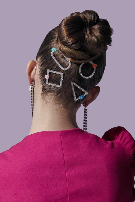Joomi Lim Oval Crystal & Resin Rose Hair Clip
