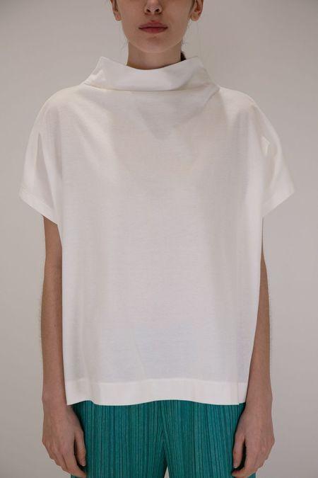 Issey Miyake Pleats Please Mock Neck Easy T Shirt - White