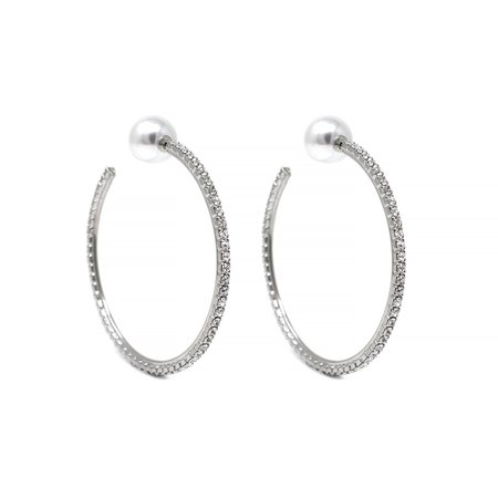 Joomi Lim Large Crystal Hoop Earrings W/ Pearl Backs - Rhodium/Crystal