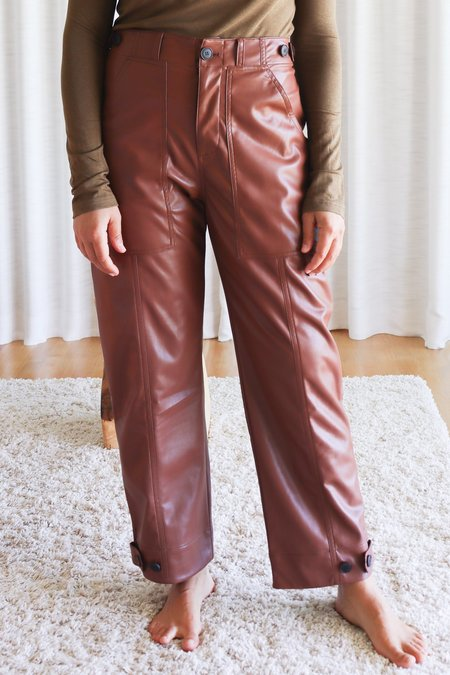 Mijeong Park Faux Leather Workwear Trousers - Brown