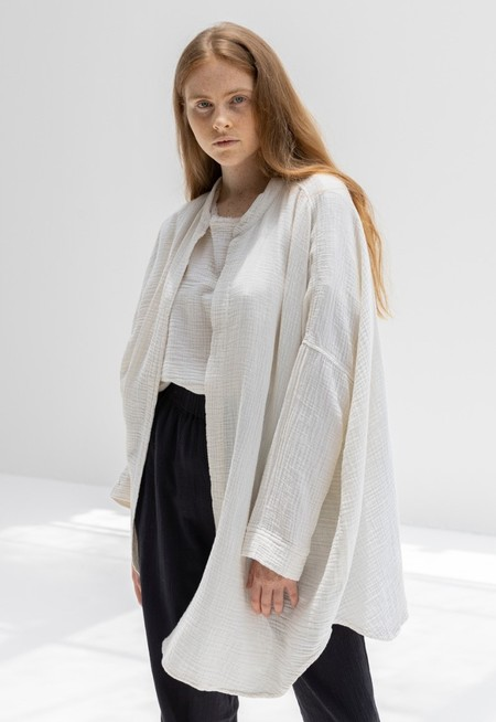 Black Crane Square Shirt - Cream