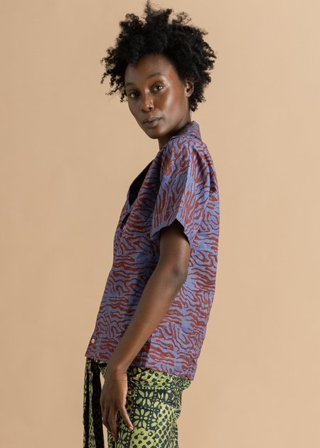 Abiola Olusola Button Down Short Sleeve Adire Shirt - Blue/Red