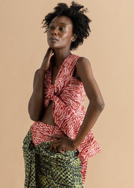 Abiola Olusola Knotted Cropped Adire Top - Pink Fringe