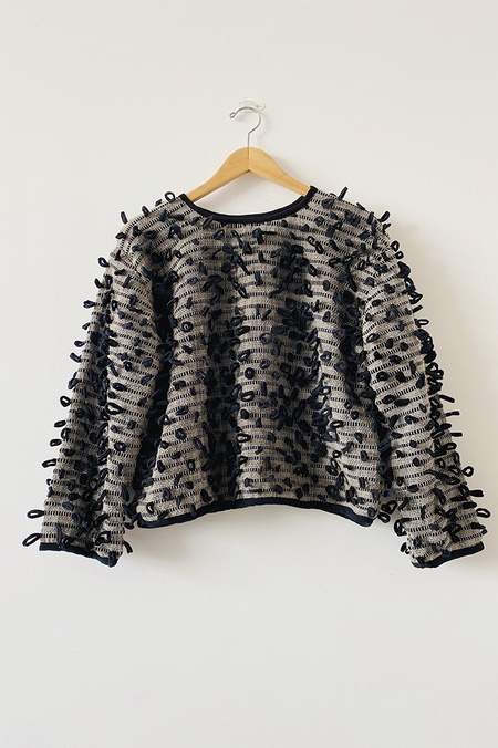 Tonle Srey Handwoven Bobble Sweater - Black/Grey