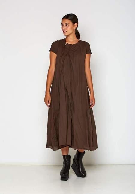 Rundholz Layered Detail Cap Sleeve Dress - Brown
