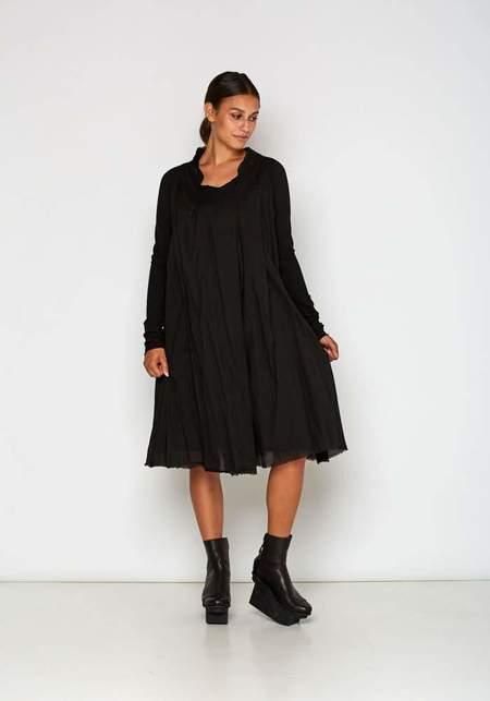 Rundholz Dip Textured Gauze Long Sleeve Dress - Black