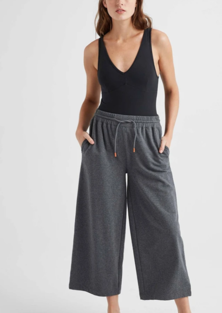 Richer Poorer Terry Wide Leg Pant - Charcoal