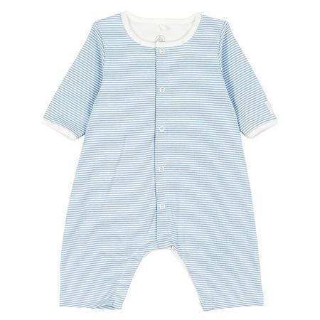 Kids Petit Bateau Pyjamas With Integrated Bodysuit - Blue/White Stripes