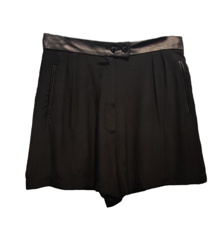 Augustin Teboul Silk/ Leather Short - Black