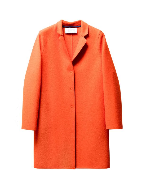 Harris Wharf Womens Cocoon Coat Pressed Wool Orange