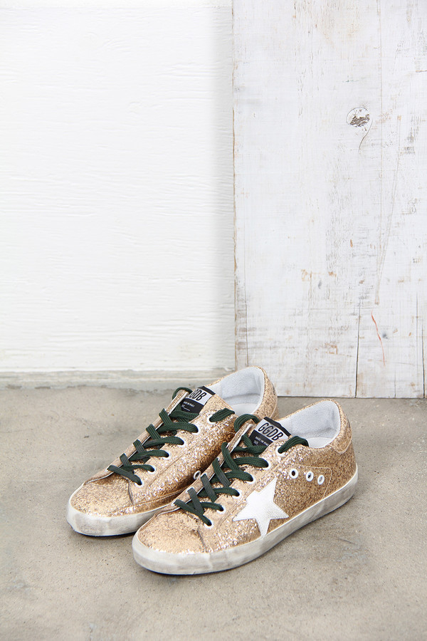Golden Goose SUPER STAR SNEAKER IN GLITTER LEATHER WITH LEATHER STAR