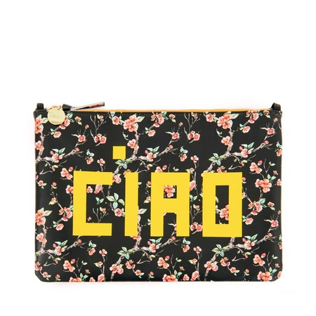 Clare V. Flat Clutch - Black Cherry Blossom/Yellow Ciao