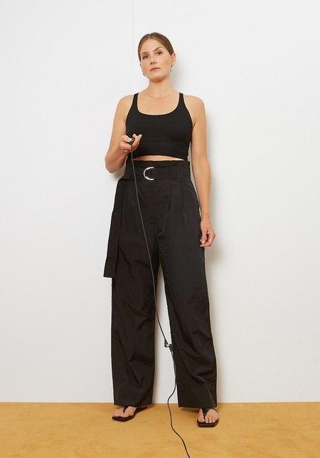 Ganni Crinkled Tech Trouser - Black