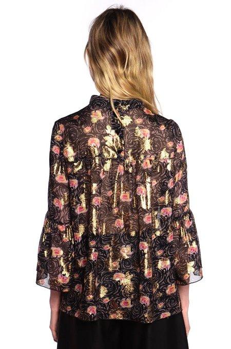 Anna Sui Gotham Roses Top - Black Multi