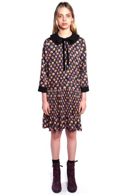 Anna Sui Ombre Bouquet Dress - Black Multi