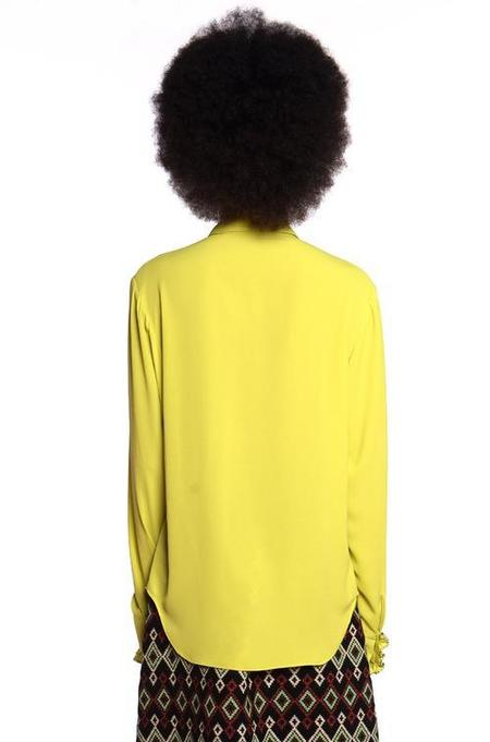 Anna Sui Pebble Georgette Top - Chartreuse