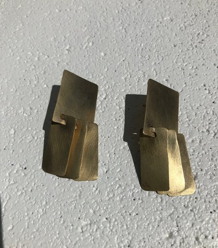 Fay Andrada Suti Square Earrings - Brass