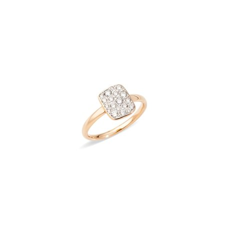 Pomellato Sabbia Rectangular Ring - Rose Gold/White Diamonds